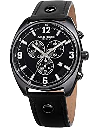 Akribos XXIV Men's Quartz Stainless Steel and Leather Casual Watch, Color Black (Model: AK969BK)