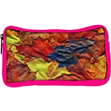 Snoogg Eco Friendly Canvas Background Made Of Red Maple Leaves Student Pen Pencil Case Coin Purse Pouch Cosmetic...