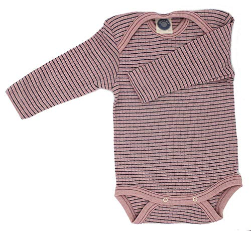 Cosilana Baby Body 1/1 Arm, Größe 86/92, Farbe Rosa-Pflaume-Natur - Exclusiv Wollbody®GmbH - Qualität 91 45% Baumwolle kbA, 35% Schurwolle kbT, 20% Seide