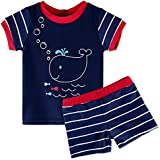 HUANQIUE HUANQIUE Kids Swimsuit Boys UPF 50+ Sun Protection Two Piece Navy 1-