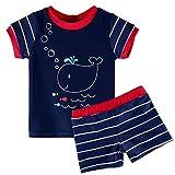 HUANQIUE Baby Schwimmbekleidung Kinder Badeanzug UV-Schutz Bade-Set Maritim Blau Navy 4A