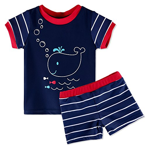 HUANQIUE Boys Swimsuit Short Sleeve Swimwear Cute Fish 6Month-6Year UPF 50+ Sun Protection Two Piece