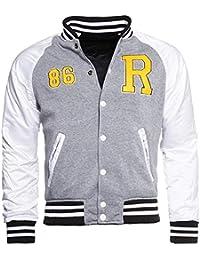 Young & Rich Herren Wende Jacke 812-4950 College Look Sweat Style Übergangsjacke, Grösse:L;Farbe:Grau