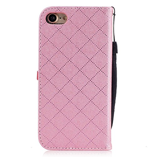 iPhone 7 Custodia, iPhone 7 Cover Wallet, SainCat Custodia in Pelle Cover per iPhone 7, Anti-Scratch Protettiva Caso Elegante Creativa Dipinto Pattern Design PU Leather Flip Portafoglio Custodia Libro rosa