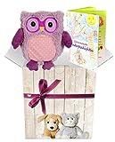 Warmies Geschenkset - Kuscheltier Minis Eule (violett) mit Lavendelduft Wärmekissen + Edle Geschenkverpackung + Büchlein mit spannenden Kindergeschichten