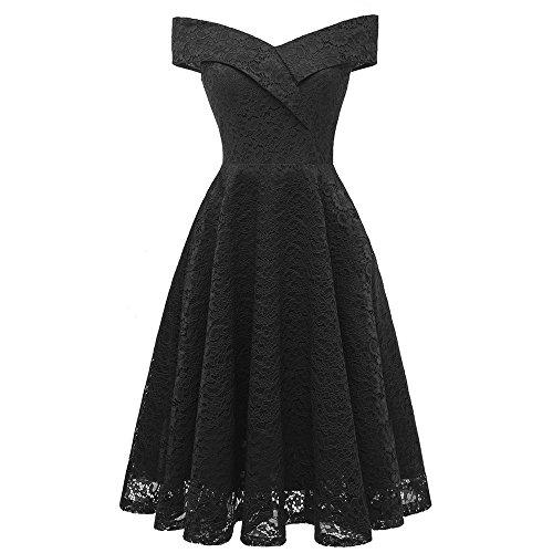 Ihengh abito da donna girocollo elegante a vena camicetta ragazza casual aline in pizzo da cocktail dress vintage principessa floreale (nero,x-large)