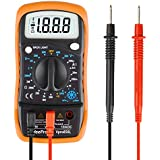WeePro Multimetro Digital Profesional / DMM Portátil, Amperímetro& Voltímetro& Ohmímetro 3 en 1, Probador audible de continuidad, Batería incluida, LCD Retroiluminada