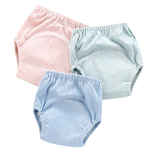3 PCS Baby Mädchen Jungen Trainerhosen Training Pants Kleinkinder Windelhöschen Unterhose Wasserdicht Lernwindel Töpfchentraining (3Pack, 90cm/M)