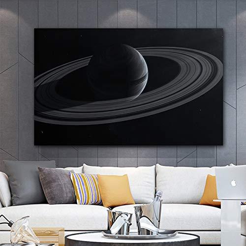 NIMCG Quadro su Tela in Bianco e Nero sulla Parete di Arte Stellata Immagine di Parete di Saturno per la Decorazione della Parete del Paesaggio del Soggiorno (Senza Cornice) A1 60x90CM