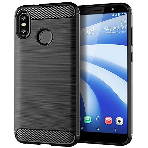 TopACE Hülle für HTC U12 Life Hülle, Flexiblem TPU Silikon Hybrid Schutzhülle Kohlenstoff-Fasern Tasche Slim-Fit Case für HTC U12 Life (Schwarz)