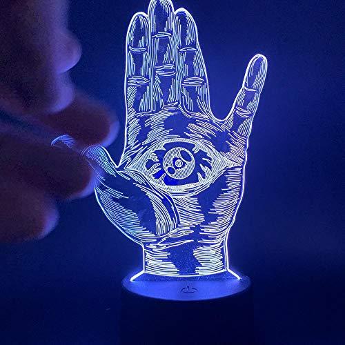 3D Nachtlicht Bunte Gottes Auge Fatima Hand Smart Fernbedienung Tischleuchte Baby Mit Schlaflicht Touch-Schalter