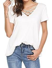 Parabler Damen Sommer Rückenfrei T-Shirt Sexy Oberteile Bluse Top mit  Kurzarm ea08aec9b3