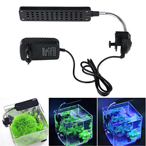 UEETEK Hochleistungs-Aquarium 48-LED 3-Modus umschalten LED-Lampe Aquarium Lampe mit EU-Stecker-Adapter