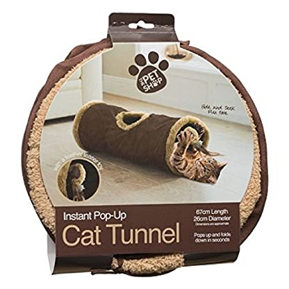 Cat tunnel instant pop up feather toy hide and seek play soft folds away colour may vary 3