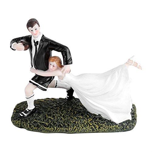 Yosoo Süßer und lustiger Hochzeit Tortenaufsatz Brautpaar Rugby Love Braut und Bräutigam Paar Figur aus Kunstharz Tisch Dekoration