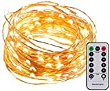 #10: 3M 30LED Copper Wire Battery Operated with Waterproof Battery Box and Remote and 8 Mode Functions Copper Wire LED Fairy String Lights (Warm White)