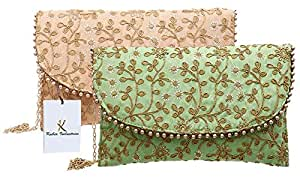 Kuber Industries Women's Handcrafted 2 Pieces Embroidered Clutch Bag Purse Handbag for Bridal, Casual, Party, Wedding (Green & Peach) - CTKTC34529