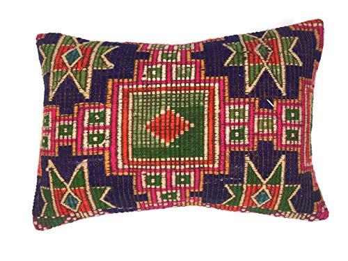 Türkischen Kelim Kissen (Handgefertigter Kilim Kissenbezug, Kelim Kissen, 60 x 40 cm, Türkisch, Persisch, Marokkanisch)