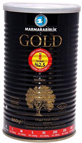Marmarabirlik Gold - natürlich fermentierte schwarze Premium Oliven ohne Konservierungsstoffe (800g)