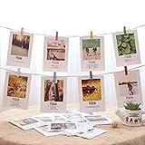 Porte-photos et colliers - Collage de cadres photo bricolage Comprend un fil de 30 mètres, 100 pinces en bois et 10 clous non tracés pour décor de Noël (clips colorés)