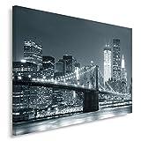 Feeby, Leinwandbild, Bilder, Wand Bild, Wandbilder, Kunstdruck 80x120cm, BRÜCKE, STADT, NACHT, NEW YORK, BROOKLYN BRIDGE, SCHWARZ UND WEIß