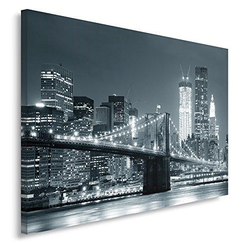 Feeby Frames, Quadro pannelli, Pannello singolo, Quadro su tela, Stampa artistica, Canvas 70x100 cm, PONTE, CITTÀ, NOTTE, NEW YORK, BROOKLYN BRIDGE, NERO E BIANCO