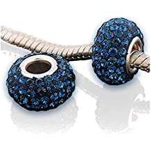 "'Andante de Stones 925plata de ley cristal Bead ""Mago de Oz Blue Wizard–Bola Element Para European Beads + Traumhandel"