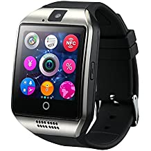 WOTUMEO Montre Bluetooth Smart Watch Phone Q18 soutien SIM TF Card Caméra Pédomètre Anti-lost Message Sync HD De Tactile Montres Connectées pour Smartphone Android Bluetooth Connectivité iPhone (Argent)