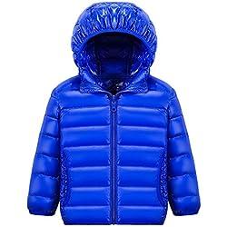 Chic-Chic Blouson Manteau Léger Enfant Garçon Fille Doudoune à Capuche - Veste à Manches Longues Sport bébé Ski Vêtement 11-12ans Bleu
