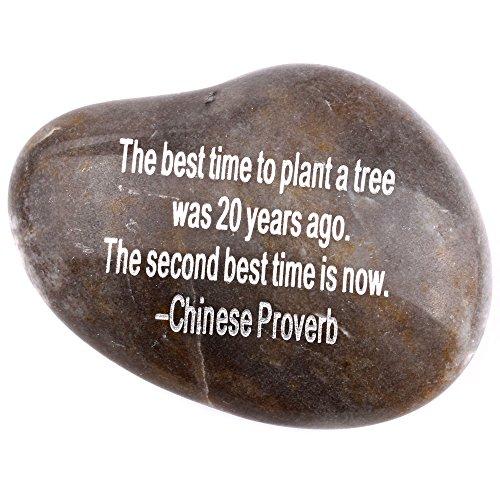 Gravur Inspirierende Steine Kollektion–Stone V: Die beste Zeit zu pflanzen einen Baum vor 20Jahren. Die zweite Beste Zeit ist jetzt.–Chinesische Sprichwort