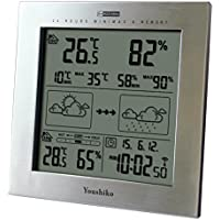 Youshiko Wireless Weather Station with Radio Controlled Clock (UK Version), Indoor Outdoor Temperature Thermometer, Humidity, Date & Frost Alarm, Maximum & Minimum with 24 Hour Auto Reset