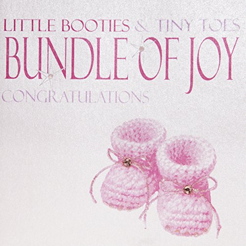 WHITE COTTON CARDS N206Pink Beute, Little Beute & Tiny Toes Bundle of Joy handgefertigt Congratulations New Baby Girl Karte - Handgemachte Booties