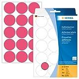 Herma 2276 Vielzweck Etiketten farbig neon rot, rund (Ø 32 mm) 360 Markierungspunkte, 24 Blatt Papier matt, selbstklebend, Handbeschriftung