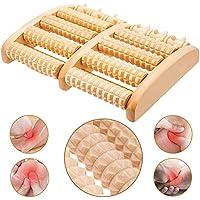BESTZY Alivio del dolor del rodillo del Massager del pie dual de madera,Rodillo de madera masajeador para pies, rodillo doble de madera de masaje de pies