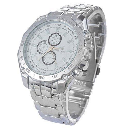 Souarts Herren Armbanduhr Silber Farbe Edelstahl Schwarz Weiss Blau Zifferblatt Analog Quarzuhr Herrenuhr mit Batterie