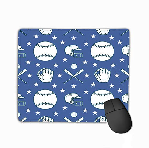 Mouse Pad Baseball Softball Sport Game Background line Icons Balls Gloves bat Helmet linear Signs Rectangle Rubber Mousepad 11.81 X 9.84 Inch -