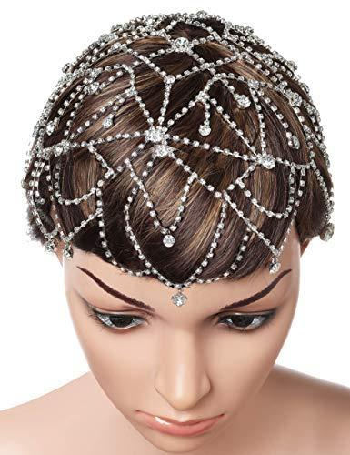 nband Damen Perlen Haar Kette Gatsby Kostüm Fasching Accessoires 20er Jahre Flapper Blinkendes Haarband (Silber-Stil 3) ()