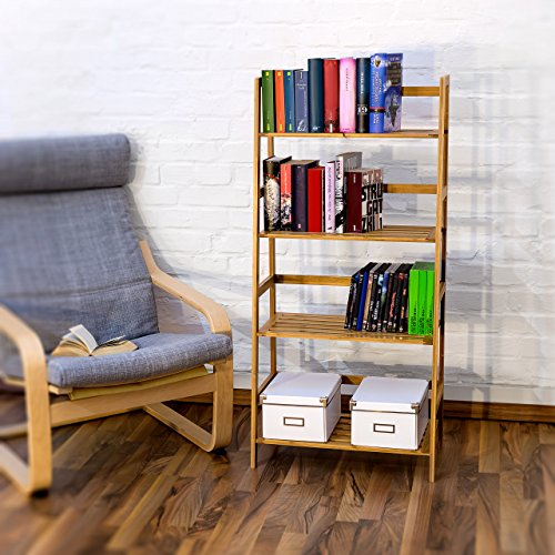 Relaxdays Book Shelf With 4 Shelves, Bamboo, Brown, 120 x 57 x 31 cm
