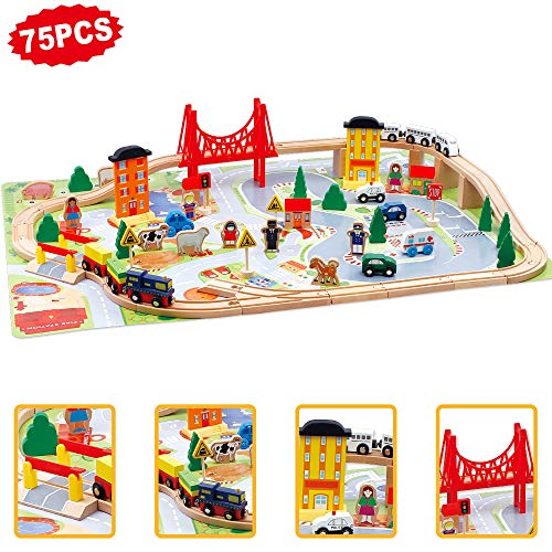 jerryvon Grand Circuit Bois avec Train et Voiture Locomotive Magnétique Jeu de Construction pour Enfant 3+Ans