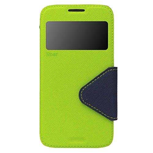 iPhone 7 Plus Hülle Flip Case Tasche inkl. Silikon innen View Fenster Magnetverschluß Easy Touch Kartenfach Farbauswahl Schwarz Apfelgrün