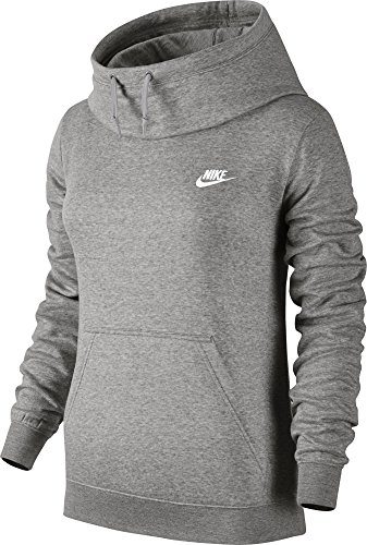 Nike W Nsw Fnl Flc - Sweatshirt Damen, Farbe gris (dk grey heather / dk grey heather / white)