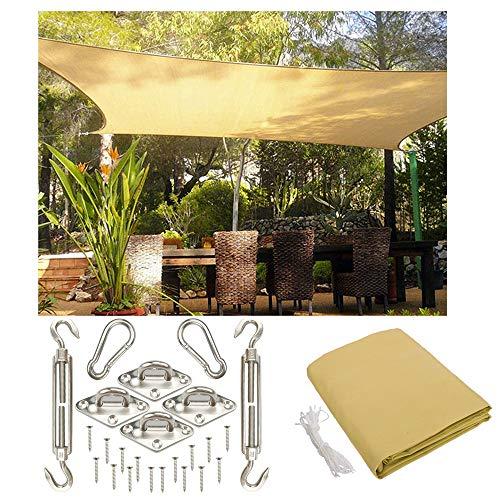 Sonnensegel LIUSIYU 3x4.5m (Customizable Size), Rechteck | wetterbeständig und UV-stabilisiert | grau, wetterbeständig HDPE atmungsaktiv Schattenspender Mit Edelstahl-Kit,10'*15'/3 * 4.5m -