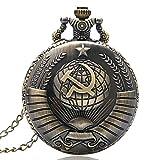 Taschenuhr mit Anhänger aus Bronze, russische Sowjetische Sichel und Hammer