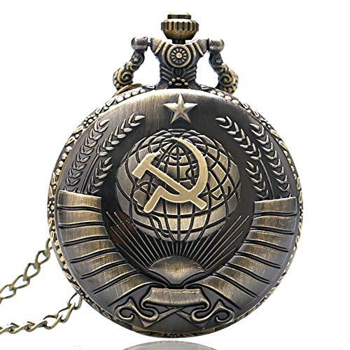Bronze Russland Sowjet Sichel Hammer Quarz Taschenuhr Halskette Anhänger Uhr für Herren Damen Geburtstag Geschenke