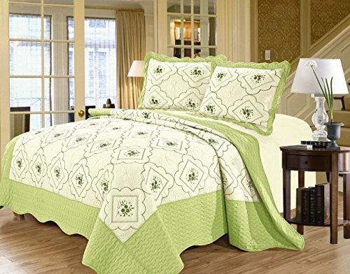 Tagesdecke 3 Stück gestickter Baumwollumkehrbarer König 240 x 260 cm Tagesdecke Bettdecke Set Bettwäsche Set + 2 Kissen Shams (König, - Grüne Bettdecken