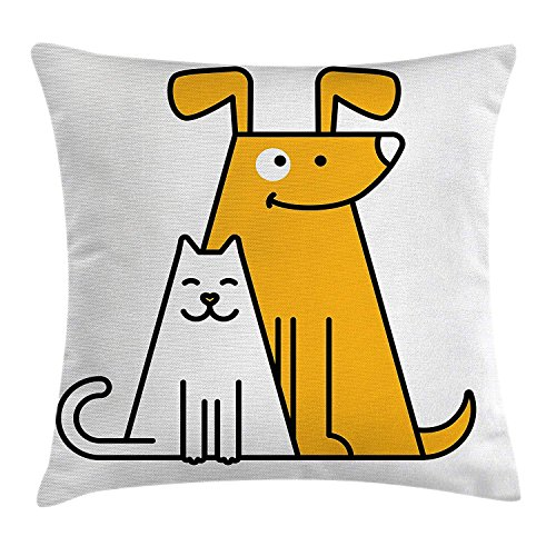 Icndpshorts Cartoon Throw Pillow Cushion Cover, Cats and Dogs Human Best Friends Forever Kids Nursery Room Art Print, Decorative Square Accent Pillow Case, 18 X 18 inches, Black White and Apricot -