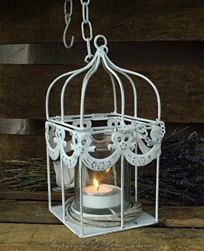 Nostalgie Metall Käfig Kerzenhalter weiß antik inkl. Glaseinsatz