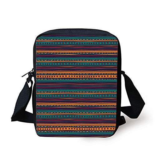 WITHY Tribal,Striped Retro Aztec Pattern with Rich Mexican Ethnic Color Folkloric Print,Teal Plum and Orange Print Kids Crossbody Messenger Bag Purse -