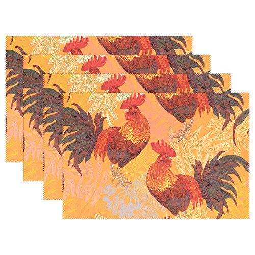 Zwei naanle Hähne Fiery Red Rooster Tischsets Set von 1/4/6waschbar Tisch Matte für Küche Esstisch 30,5x 45,7cm Platzsets Traditionell multi (Chevron-kunststoff-tabelle Für)