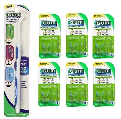 Bundle: Gum Go-betweens Proxabrush Handle with Refills + 6 Packs of GUM Go Between Proxabrush Tight Refills -8 Ct by SUNSTAR BUTLER
